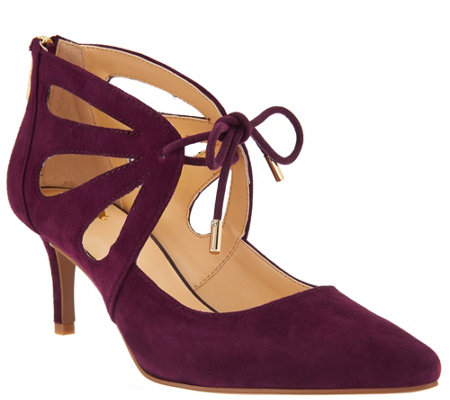 C. Wonder Suede Pumps with Cutout Detail - Scarlett
