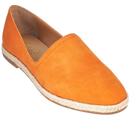 """As Is"" Franco Sarto Leather Slip-ons with Espadrille Trim - Ironic"