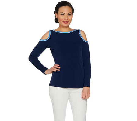 Susan Graver Liquid Knit Long Sleeve Cold Shoulder Top