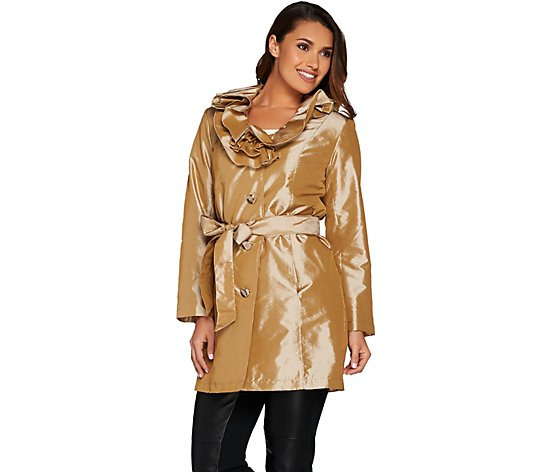 Dennis Basso Ruffle Collar Water Resistant Metallic Trench Coat
