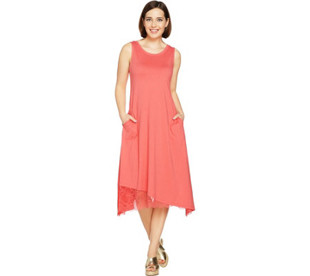 LOGO by Lori Goldstein Cotton Modal Knit Dress with Lace Hem