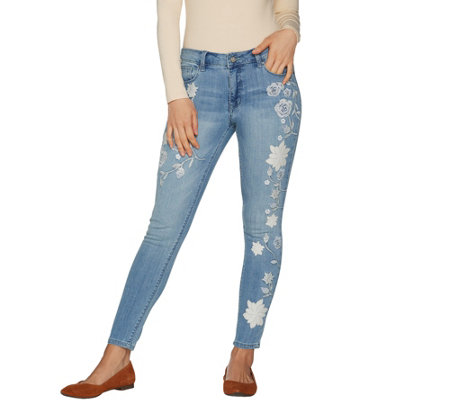 Laurie Felt Classic Denim Embroidered Ankle Jeans