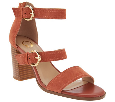 """As Is"" C. Wonder Block Heel Suede Sandals with Buckles - Maya"