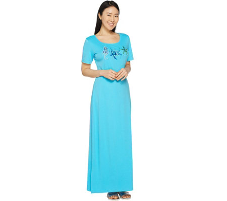 Quacker Factory Petite Embroidered Short Sleeve Knit Maxi Dress