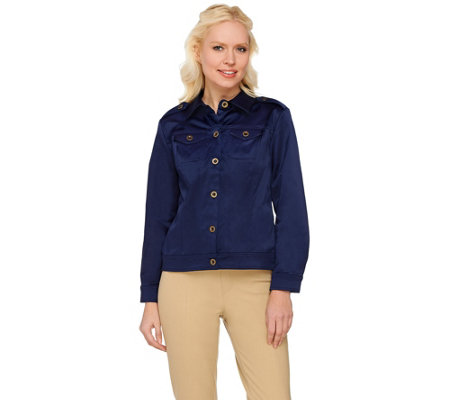 As Is Joan Rivers Long Sleeve Cotton Sateen Jacket