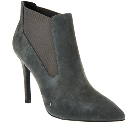 """As Is"" H by Halston Suede Pointed-toe High Heel Ankle Boots - Regina"