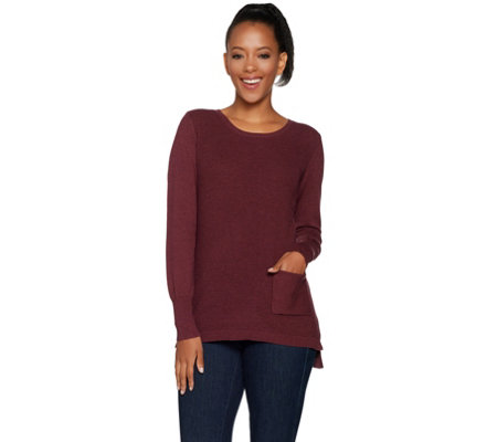 Lisa Rinna Collection Long Sleeve Waffle Knit Sweater