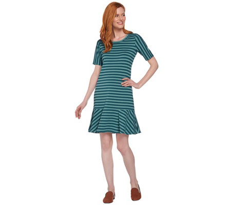 """As Is"" LOGO by Lori Goldstein Striped Knit Dress with Flounce Hem"