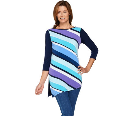"""As Is"" Susan Graver Liquid Knit Tunic With Printed Front"
