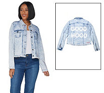 Peace Love World Denim Jacket with Painted Affirmation - A301546