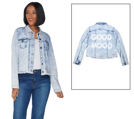 Peace Love World Denim Jacket with Painted Affirmation