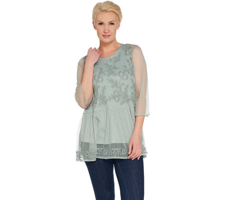 LOGO Lavish by Lori Goldstein Embroidered Mesh Top with Twin Tank
