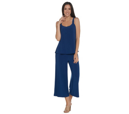 Attitudes by Renee Regular Solid Como Jersey Overlay Crop Jumpsuit