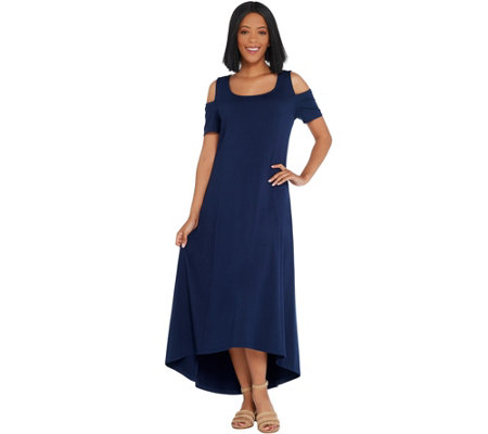 Isaac Mizrahi Live! Petite Cold Shoulder Hi-Low Hem Maxi Dress
