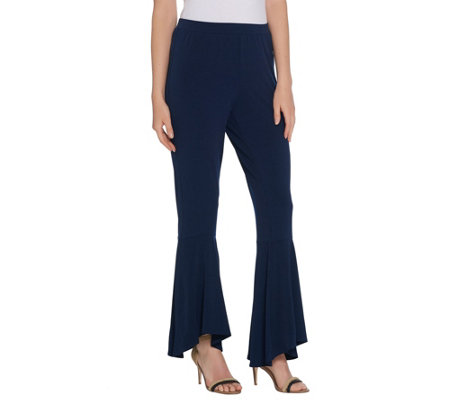 Susan Graver Petite Liquid Knit Pull-On Pants w/ Flounce Hem