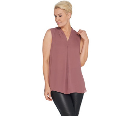 Belle by Kim Gravel Inverted Pleat Sleeveless Blouse