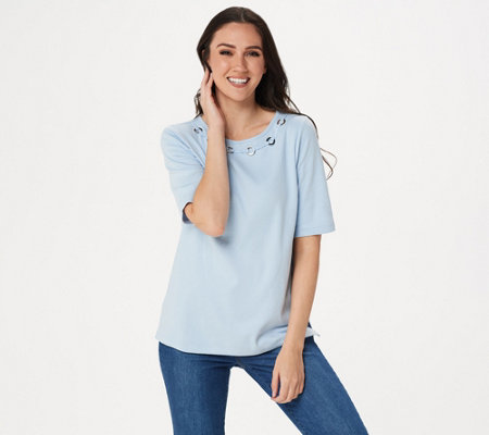 Quacker Factory Elbow-Sleeve Knit Top with Grommet Detail