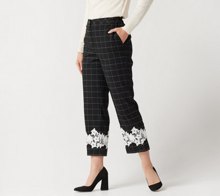 Linea By Louis Dell Olio Petite Windowpane Crop Pants W Lace