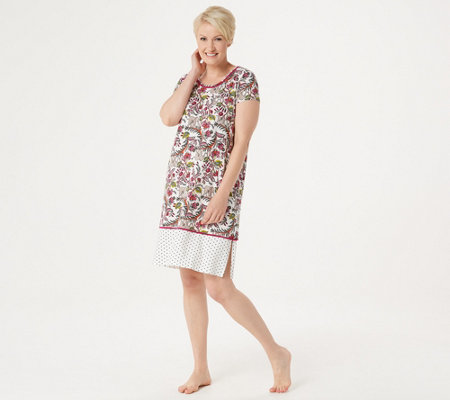 Cuddl Duds Cool & Airy Jersey Color Block Print Sleep Dress