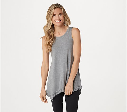 """As Is"" LOGO Layers by Lori Goldstein Heather Knit Tank w/Ruffle"