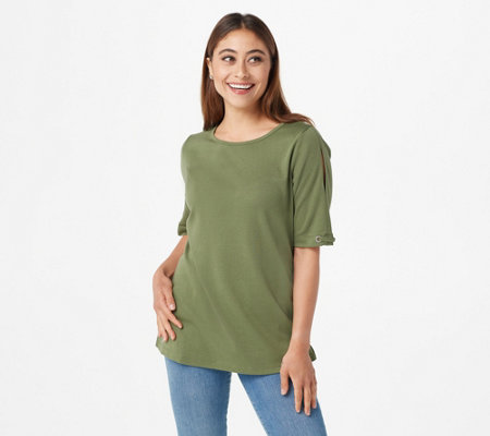 Quacker Factory Essentials T-Shirt with Grommet Detail