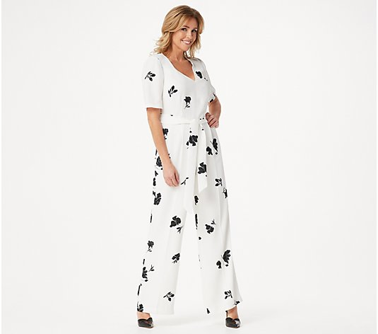 Vince Camuto Elbow-Sleeve Tossed Flower Printed V-Neck Jumpsuit