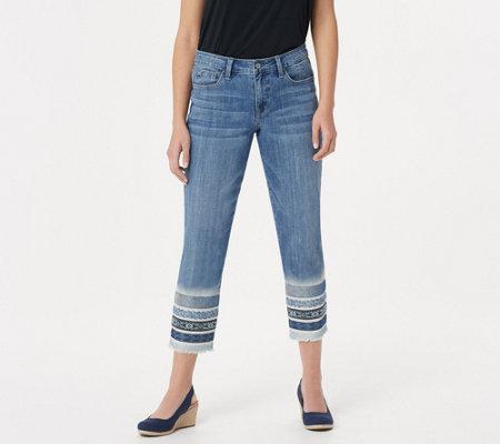 Laurie Felt Classic Denim Stiletto Jeans With Decorated Hem