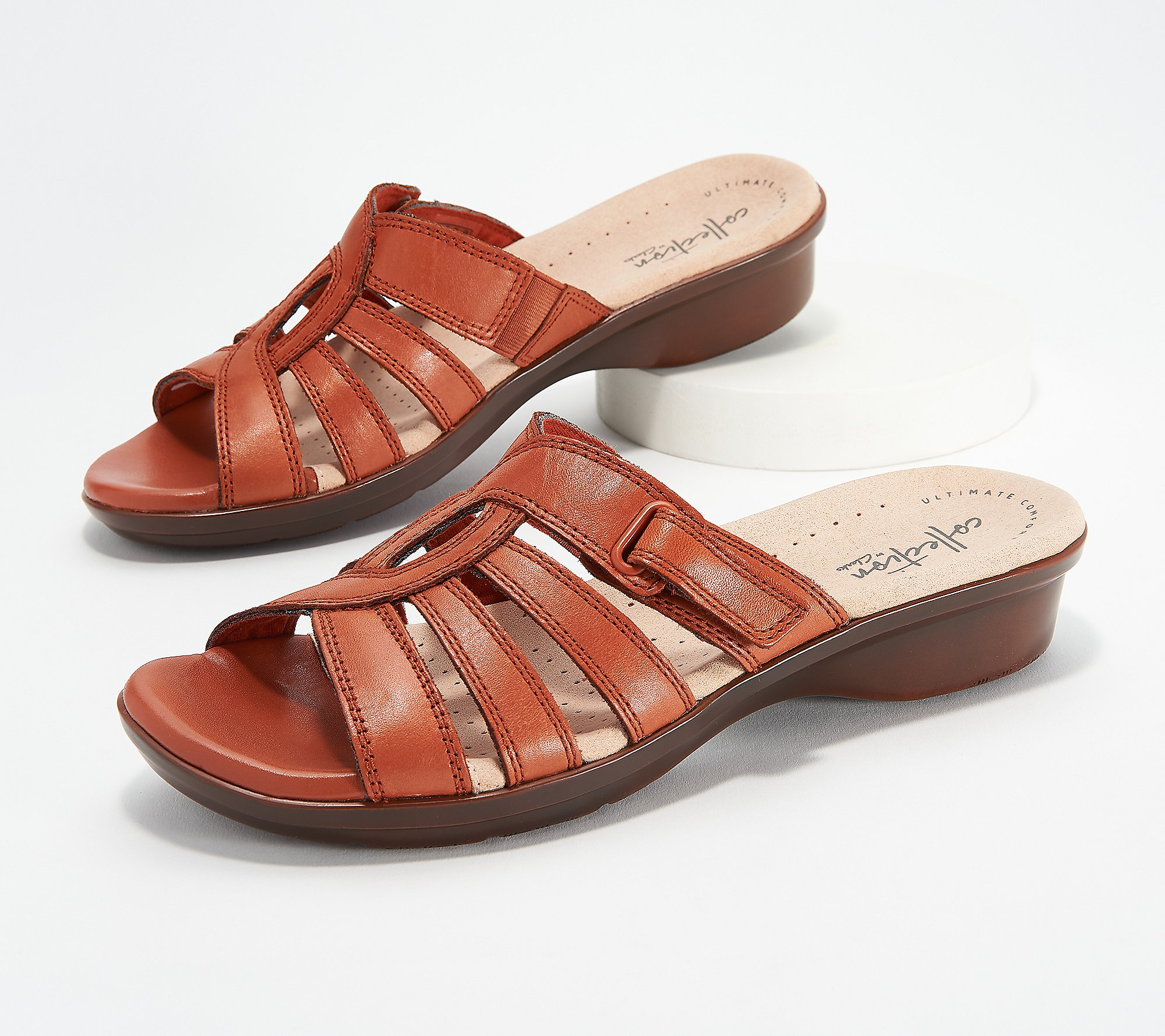calidad alquiler miel  Clarks Collection Leather Slide Sandals - Loomis Gale - QVC.com