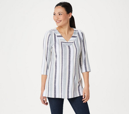 Denim & Co. Petite 3/4-Sleeve Striped Tunic