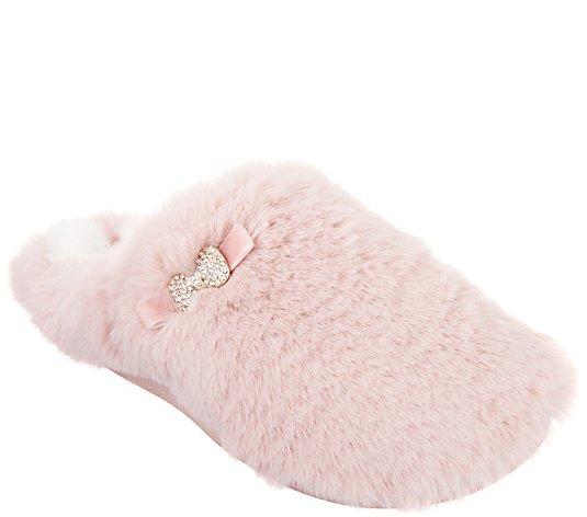 Pretty you alexa pink fur mule slippers