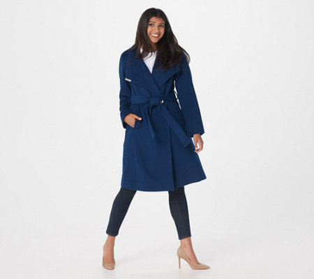 Dennis Basso Wool Blend Wrap Coat with Envelope Collar