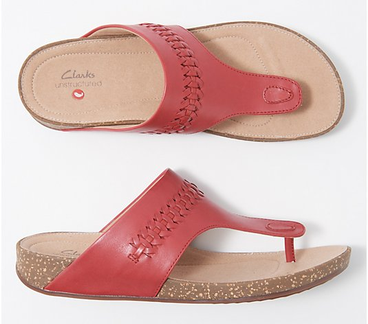 Clarks Unstructured Leather Thong Sandals - Un Perri Vibe