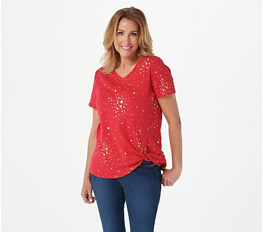 Quacker Factory Metallic Star Print Knit Top with Knot Detail