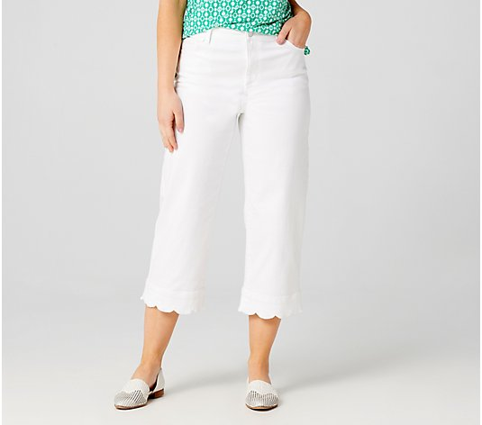 Susan Graver Regular High Stretch White Denim Crop Jeans
