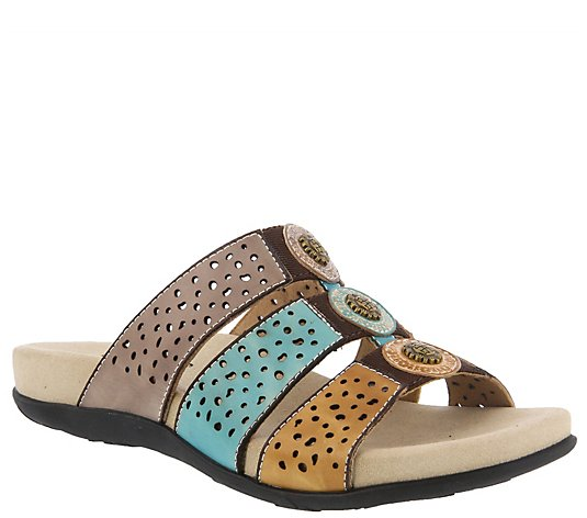 L'Artiste by Spring Step Leather Slide Sandals- Glennie