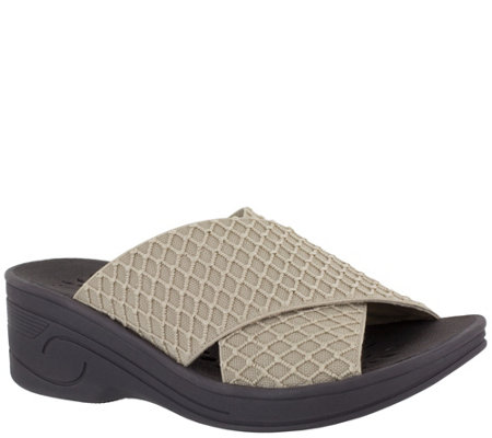 SoLite by Easy Street Elastic Wedge Comfort Sandals - Agile