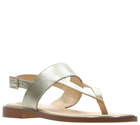 Clarks Leather Flat Sandals - Ellis Opal