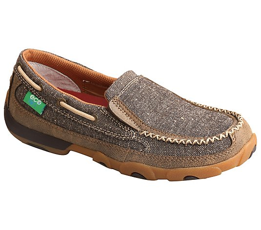 Twisted X Women's Slip-On Leather Boat Shoe Driving Moccasins