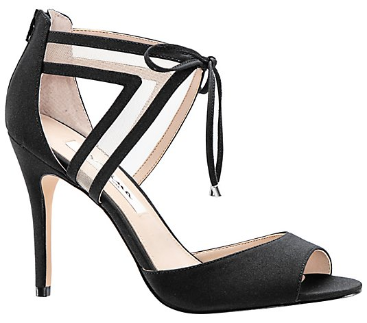 Nina Footwear Open-Toe Mesh Ankle Strap Pumps -Caleya