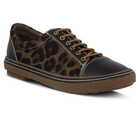 L'Artiste Leather Lace-Up Shoes - Libbi Leopard