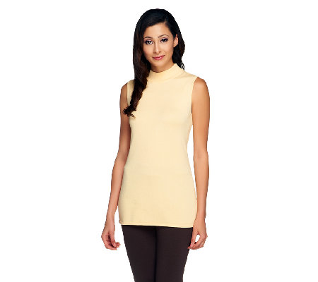 Linea by Louis Dell'Olio Whisper Knit Mock Neck Rib Trim Tank