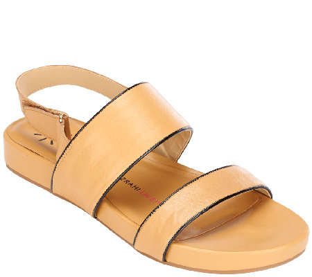 Isaac Mizrahi Live Double Strap Leather Sandals