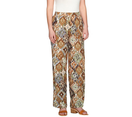 Denim & Co. Beach Ikat Printed Jersey Pants