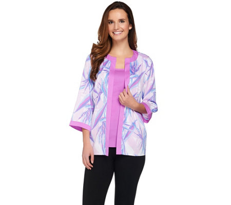 Bob Mackie's Crepe de Chine Paradise Print Cardigan and Solid Tank Set