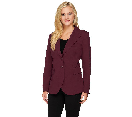 """As Is"" Mark of Style by Mark Zunino Button Front Blazer"