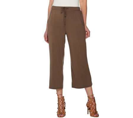 H by Halston Pull-on Crop Wide Leg Pants with Self-Tie