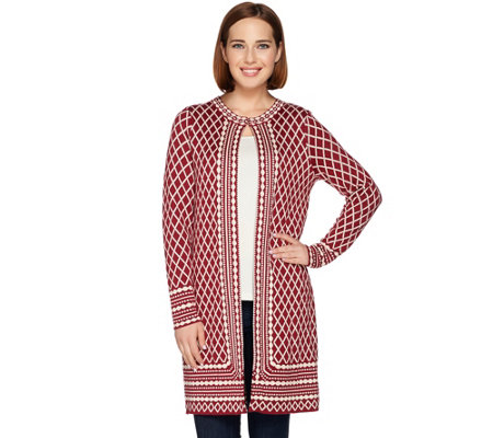 C. Wonder Long Sleeve Jacquard Knit Sweater Coat