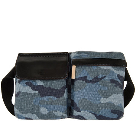 """As Is"" G.I.L.I. Canvas Fanny Pack with Leather Trim"