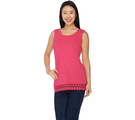 Joan Rivers Jersey Knit Tank with Crochet Detail