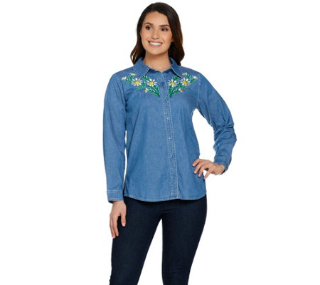 Bob Mackie's Floral Embroidered Classic Shirt